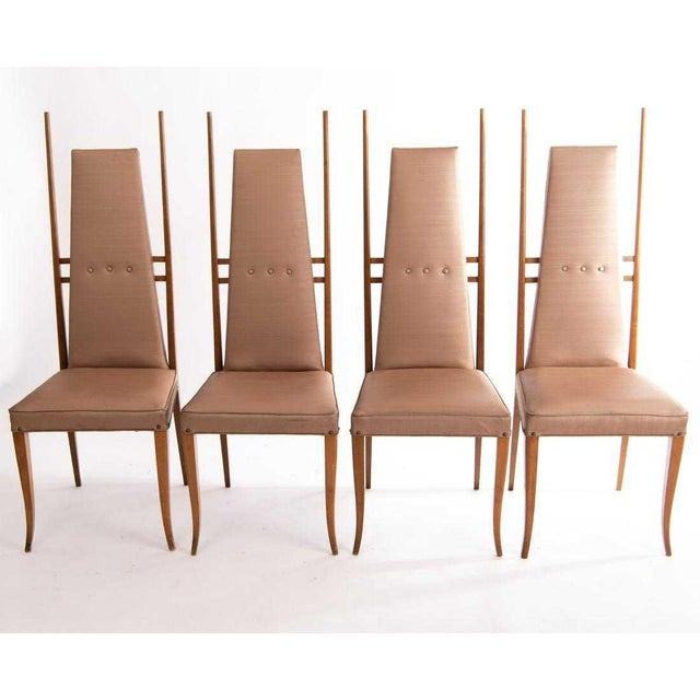 Beige 1950s Vintage Gio Ponti Style Dining Chairs- Set of 4 For Sale - Image 8 of 8