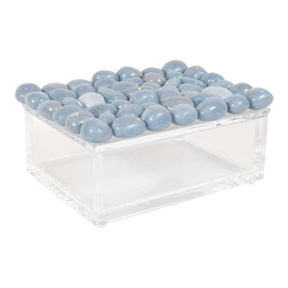 Modernist Volumetric Rectangular Lucite Box with Muted Blue Stone Detailing For Sale