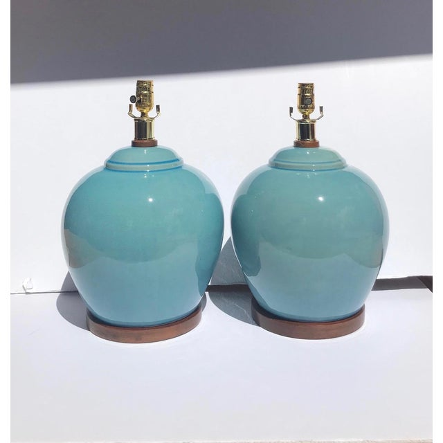Pair of Vintage Ralph Lauren Chinese Pottery Lamps in Robin's Egg Blue For Sale - Image 11 of 13