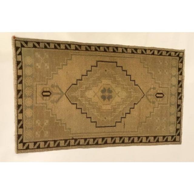 1980s Small Vintage Turkish Hand Knotted Rug - 1′8″ × 2′10″ For Sale - Image 5 of 5