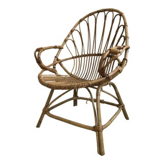 Vintage Franco Albini Style Rattan Chair For Sale