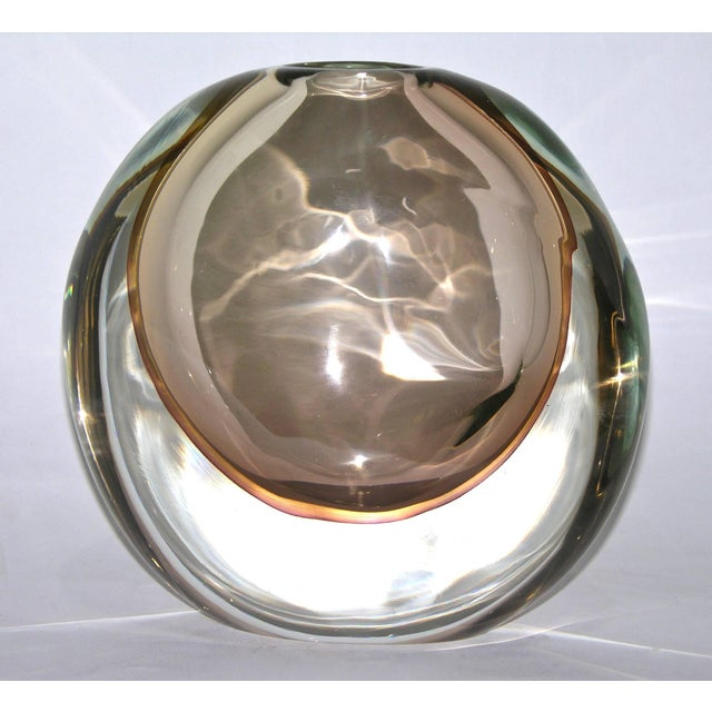 1970s Formia Italian Minimalism Smoked Pink Murano Glass Bowl and Vase - Set of 2 For Sale - Image 9 of 11
