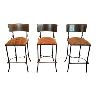 Custom Handmade Iron Bar Stool With Holly Hunt Fabric - Set of 3 For Sale