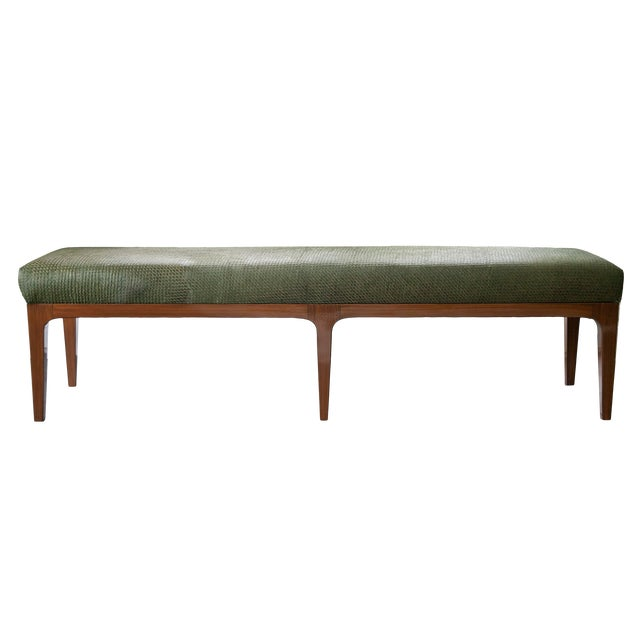 Walnut Bench With Laser Cut Cowhide Upholstered Seat For Sale