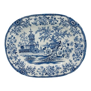 1800s English Blue and White Chinoiserie Pottery Platter For Sale