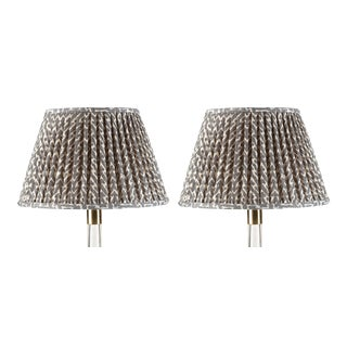 Fermoie Gathered Cotton Lampshade in Neutral Rabanna, 18 Inch, Set of 2 For Sale