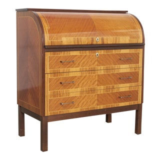 Scandinavian Modern Inlaid Rolltop Secretary Desk