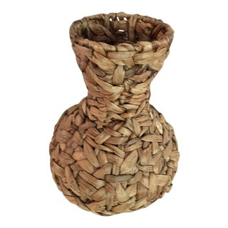 20th Century Boho Chic Hand Woven Banana Leaf Basket/Vase For Sale