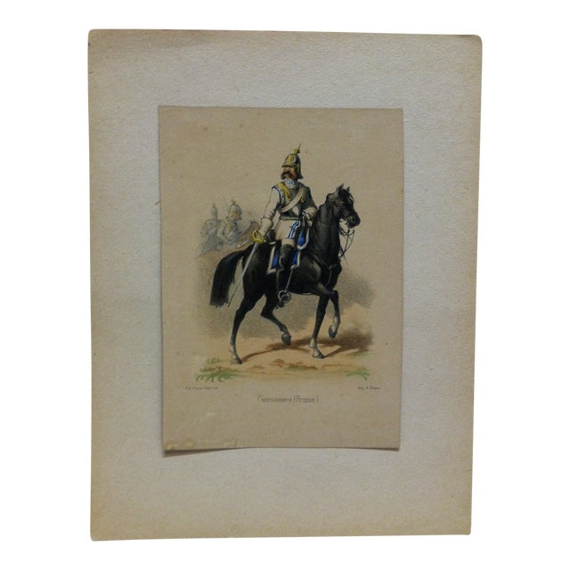 "Mid 19th Century Antique E. Simon ""Cuirassiers (Prusse) Hand-Colored Print For Sale"