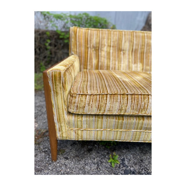 Mid-Century Modern Yellow Striped Variegated Velvet Sofa For Sale In Tampa - Image 6 of 13
