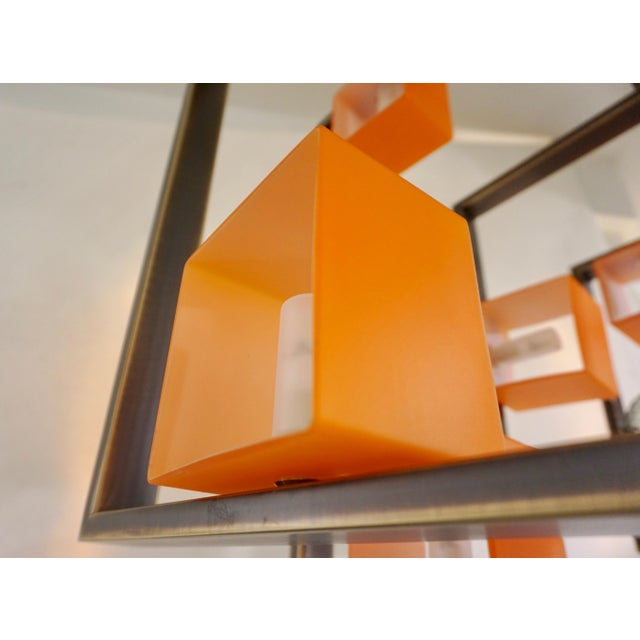 Metal Minimalist Bronze Brass Cubic Chandelier With Orange & White Murano Glass Cubes For Sale - Image 7 of 11
