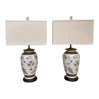 Vintage Frederick Cooper Asian Flower & Vine White Ceramic Lamps, Signed - a Pair For Sale