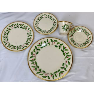 Late 20th Century Lenox Gold-Rimmed Holiday Dinnerware & Serveware Set - Set of 65 Preview