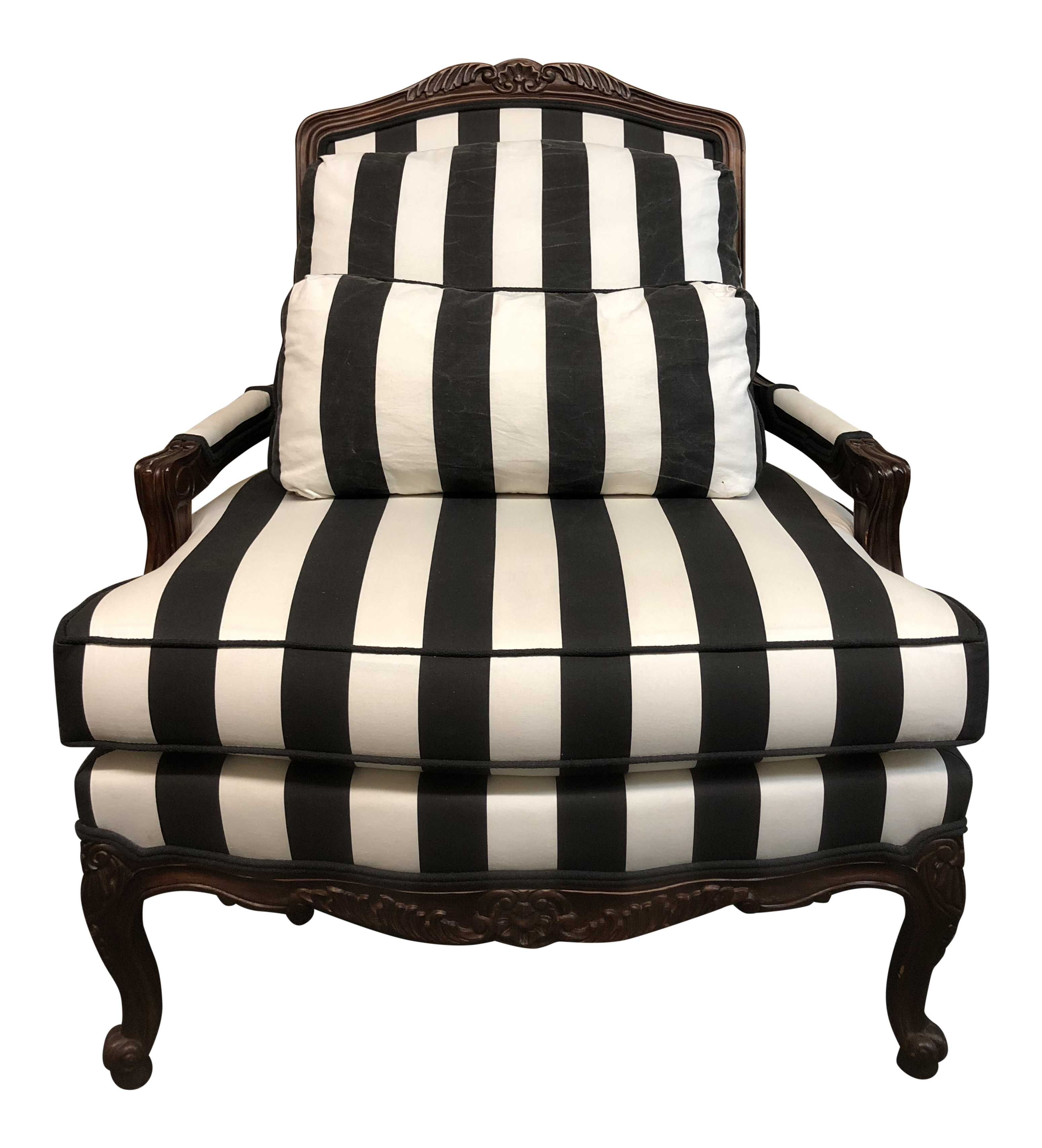 Thomasville Fauteuil Style Black + White Stripe Arm Chair For Sale