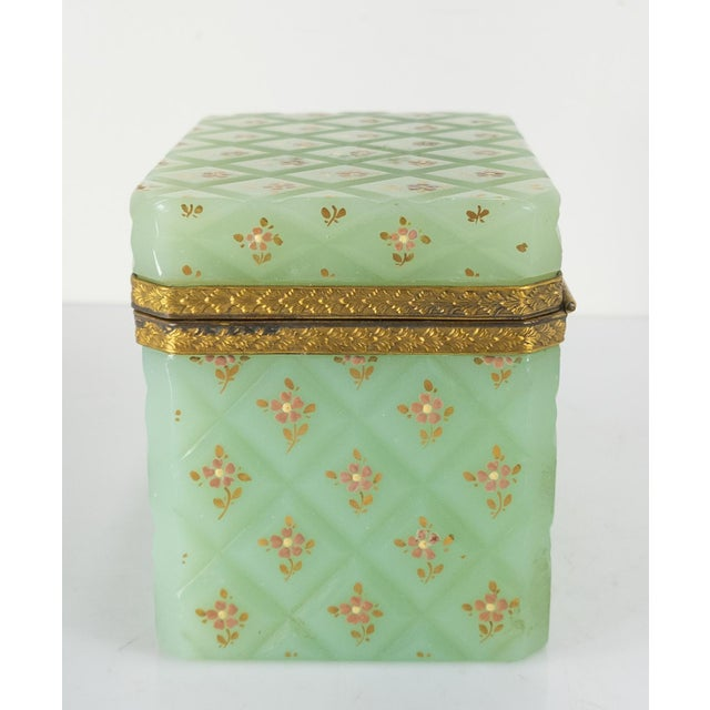 Late 19th Century French Bronze Mounted Celadon Green Opaline Trinket Box For Sale - Image 5 of 10