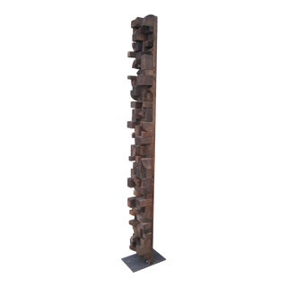 Vintage Distressed Rustic Wood Block Totem Nevelson Style Sculpture For Sale
