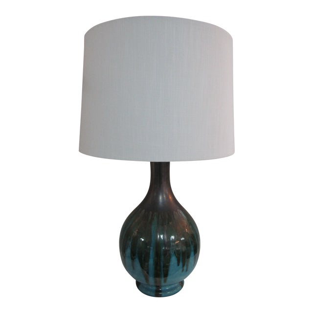 1950's Vintage Drip Glazed Table Lamp For Sale