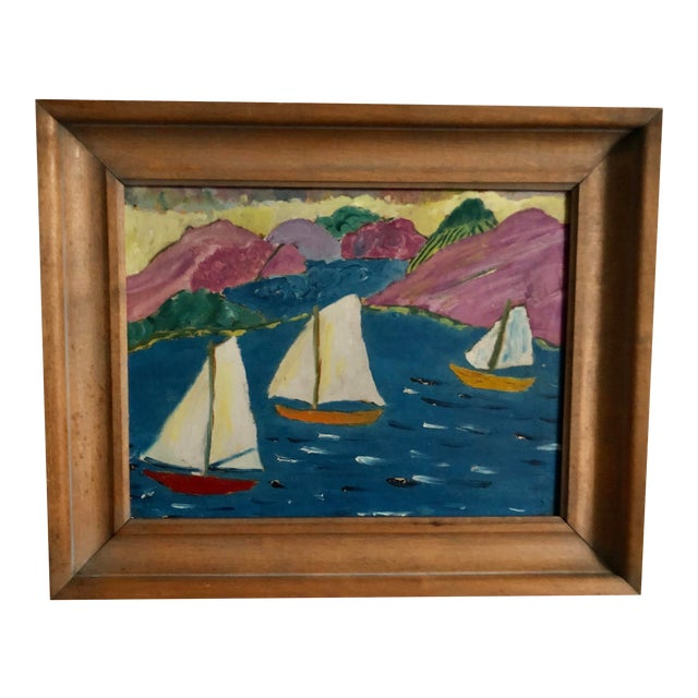 Folk Art Sailboat Painting For Sale