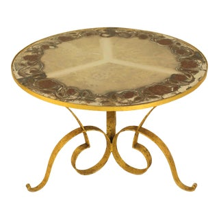1940s French Circular Gilt Iron Coffee Table With Verre Églomisé Top For Sale