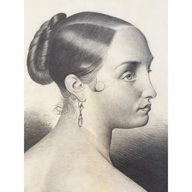 French Antique French Master Drawing of a Woman, 1847 For Sale - Image 3 of 6