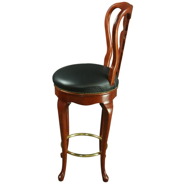 Queen Anne New Bar Stools - Pair For Sale - Image 4 of 6