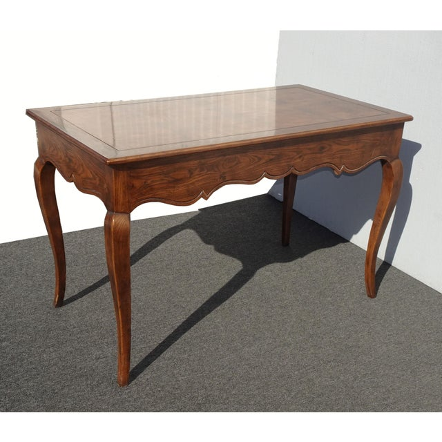 Vintage French Country Henredon Oak Writing Desk W Three Drawers For Sale - Image 12 of 13