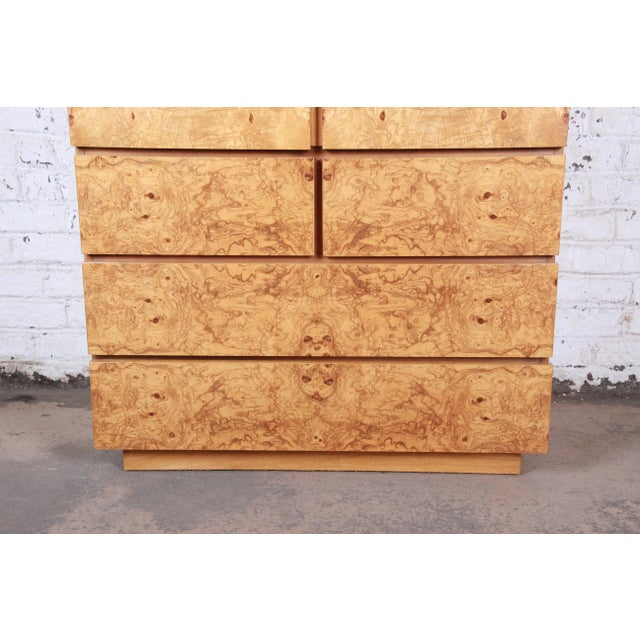 1970s Milo Baughman Style Burl Wood Gentleman's Chest by Lane For Sale - Image 5 of 13