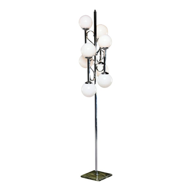 Mid-Century Italian Chrome Floor Lamp With White Glass Globes For Sale