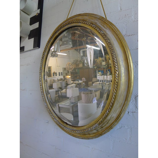 Late 19th Century Distressed Gilt Oval Antiqued Mirror Hung by Rope For Sale - Image 5 of 13