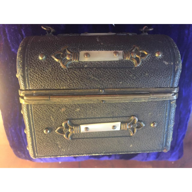 Glass Continental Perfume Shagreen, Mother of Pearl Miniture Trunk With Gilt Filigree Crystal Bottles - 3 Pieces For Sale - Image 7 of 13