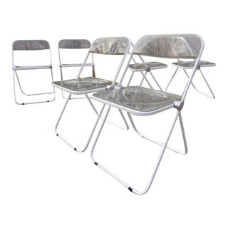 1960's Italian Giancarlo Piretti for Castelli Plia Modern Acrylic Lucite Folding Chairs - Set of 4 For Sale