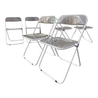 1960's Italian Giancarlo Piretti for Castelli Plia Modern Acrylic Lucite Folding Chairs - Set of 4