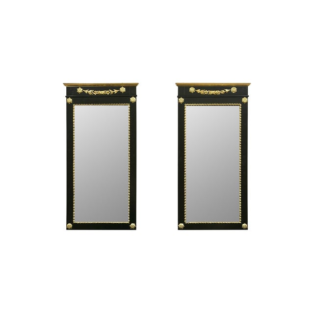 A Pair of Antique Ebony & Giltwood Mirrors - Image 1 of 7