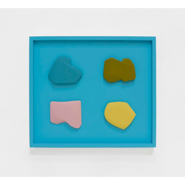 """Abstract Jaena Kwon """"Slice_Sea"""" Minimal Abstract Colorful Acrylic Shapes Artwork in Frame For Sale - Image 3 of 3"""