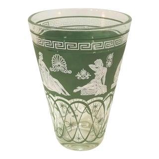 Vintage Greek Wedgewood Pattern Hellenic Green Glass Ice Bucket by Jeannette Glass For Sale