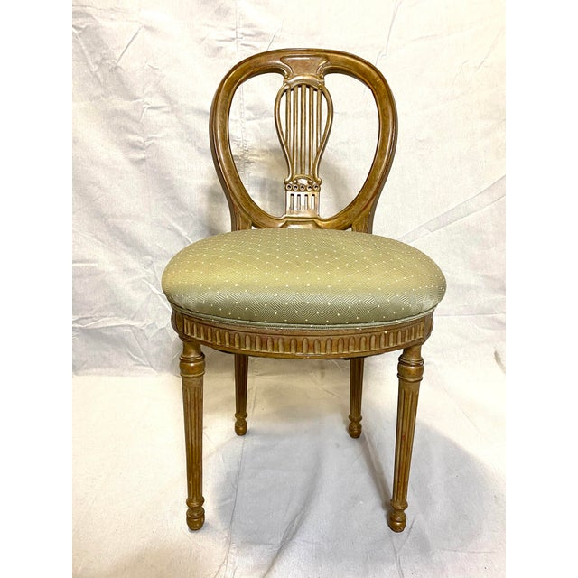 Rare Antique Set of 6 French Dining Chairs Balloon Back Silk Cushions Fabulous Great overall condition for age....