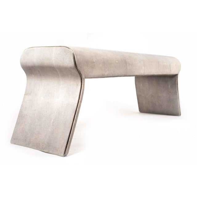 Art Deco Dandy Day Bench in Cream Shagreen With Bronze-Patina Brass Accents by Kifu Paris For Sale - Image 3 of 5