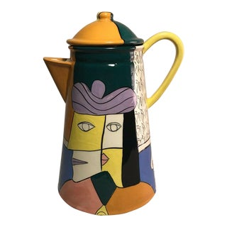 Original Vintage Sandra Zebi Big Ceramic Glazed Pottery Pitcher with Lid 8 Cups For Sale