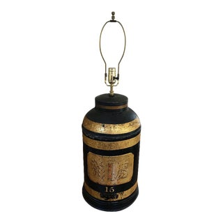 English Chinoiserie Tea Canister Lamp, 19th Century For Sale