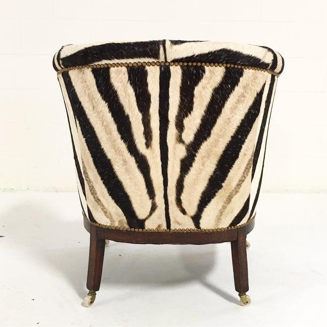 Vintage 1930s Barrel Chair in Zebra Hide - Image 6 of 11