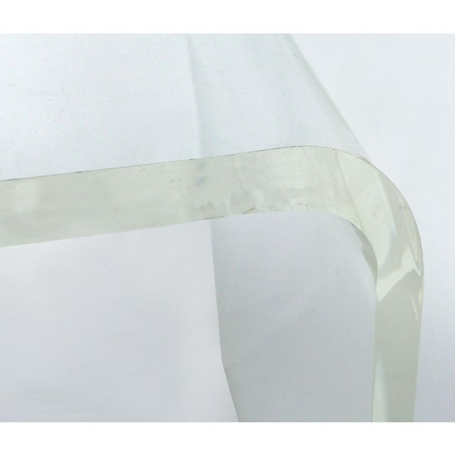 Custom Lucite Curved Sides Waterfall Table or Bench For Sale In Miami - Image 6 of 8