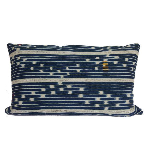 Vintage African Indigo Mudcloth Lumbar Pillow - Image 1 of 5