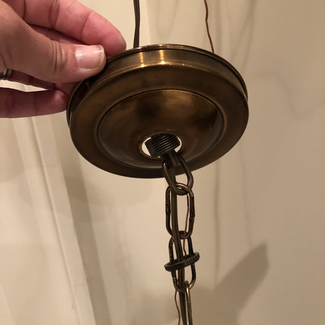 """From Italy in the 1960s- handblown glass bell with three internal light clusters 10"""" chain length"""