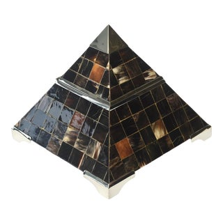 Pyramid Horn and Chrome Plate Hinged Box Vintage For Sale