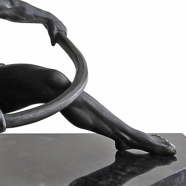 Early 20th Century Vintage Art Deco Seminude Male Sculpture For Sale - Image 4 of 7