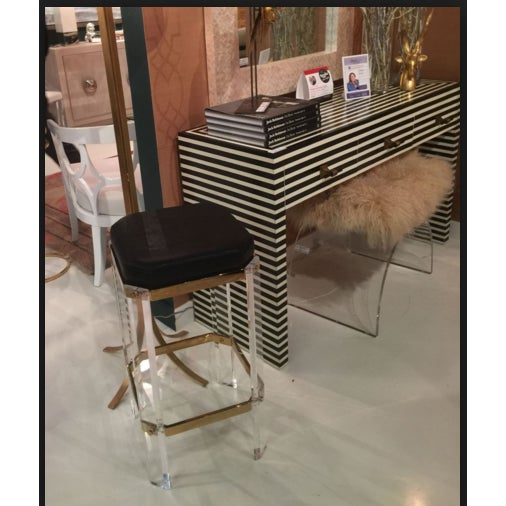 Worlds Away Worlds Away Black & White Bone Sasha Console Table For Sale - Image 4 of 5