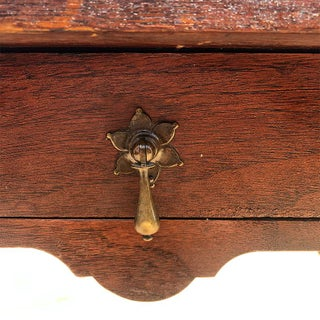 Brown Turned Leg Side Table or Nightstand With Drawer and Brass Pull Preview