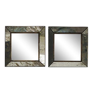 Crate and Barrel Antiqued Handcrafted Dubois Square Mirrors - a Pair For Sale