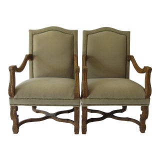 C1990s Italian Baroque, Louis XIV-Style, Custom Walnut Carved Velvet Mohair Covered Fauteuils - a Pair For Sale