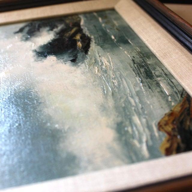 Vintage Mid-Century Modern Ocean Scene Oil Painting For Sale - Image 4 of 6